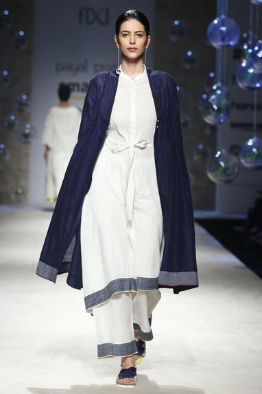 White elastic waist khadi pants