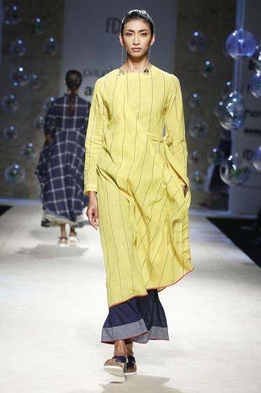 Blue khadi cotton palazzo pants