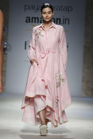Pink floral embroidered asymmetric dress