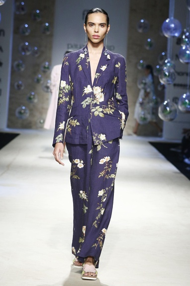 Navy blue floral printed trousers