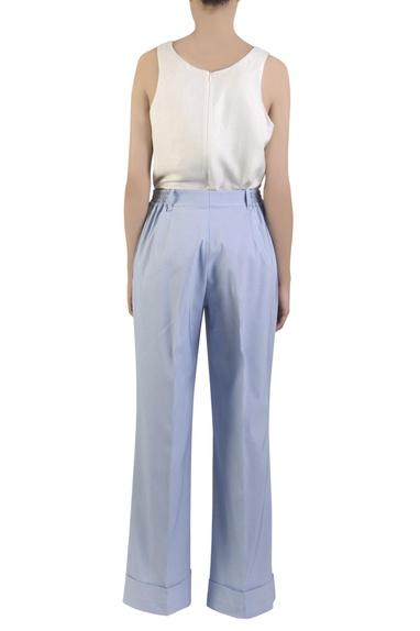 Blue cotton spandex flared pants