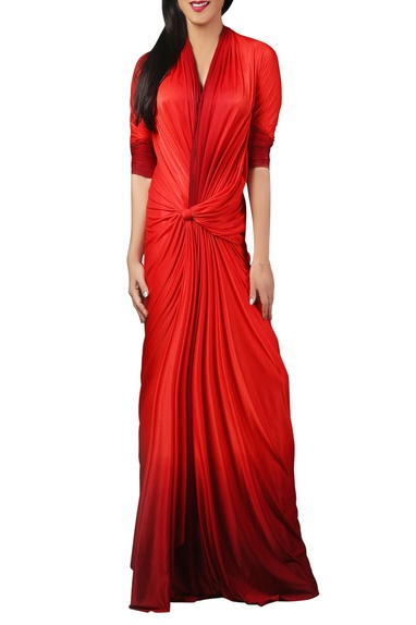 Red bodycon knotted style gown