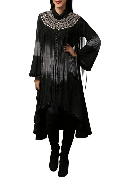 Black & grey asymmetric fringe cape tunic