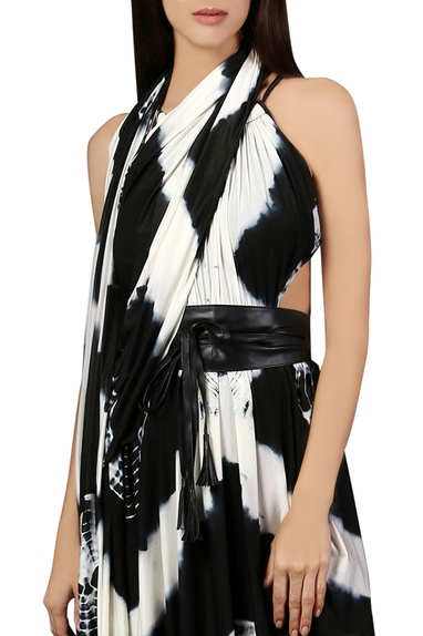 Black & white gown with sari drape