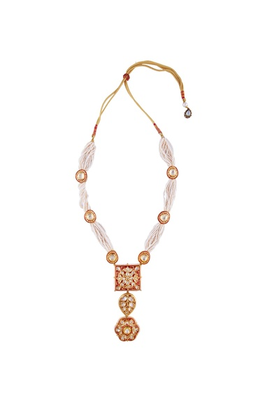 Red semi-precious stones gold plated princess necklace