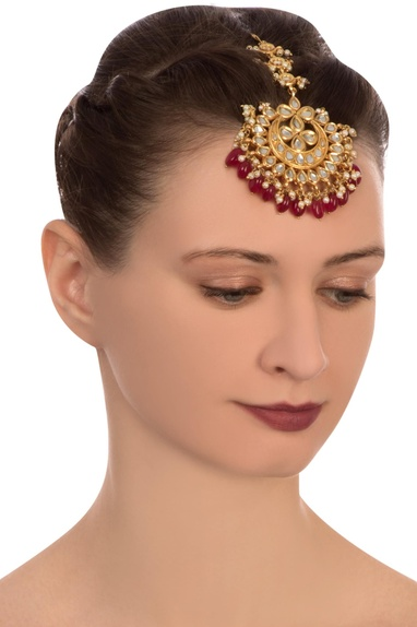 Red semi-precious stones gold plated maangtikka