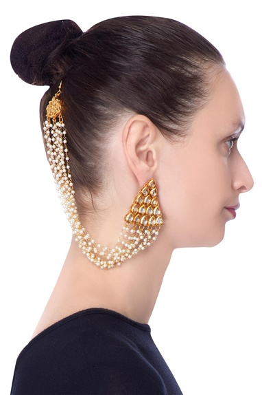 Gold earrings with dangling pearl accents