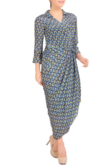 Multicolored dhoti crepe dress
