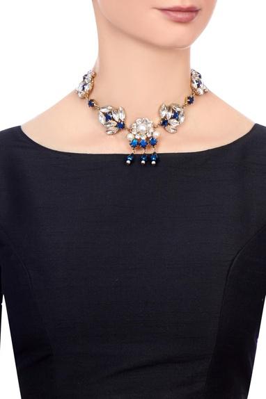 Deep blue swarovski statement necklace