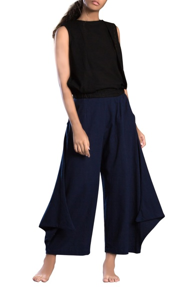 Navy blue cowl pants