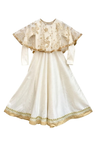 Off-white anarkali with poncho