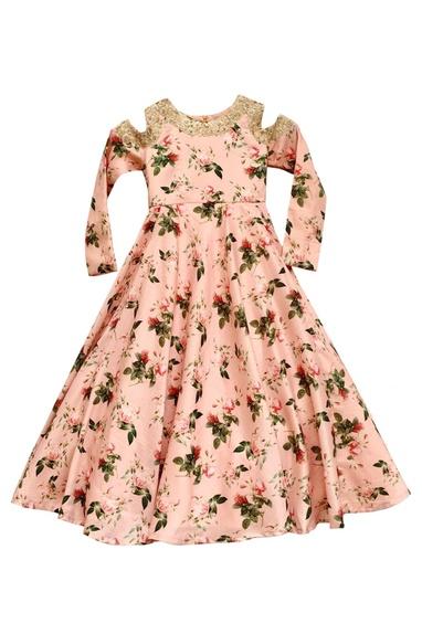 Pink floral printed gown