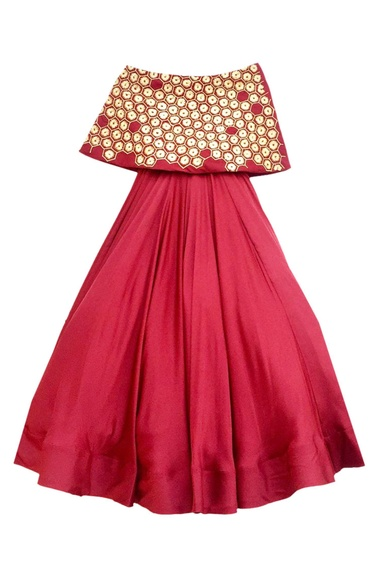Red off-shoulder flared gown