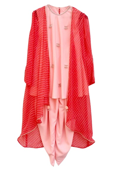 Pink kurta set with jacket