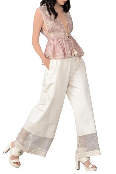 Champagne rose embroidered top and trouser set