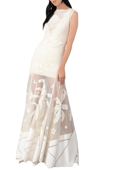 Ivory net evening gown