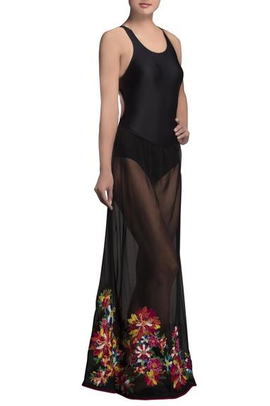 Black embroidered net maxi skirt