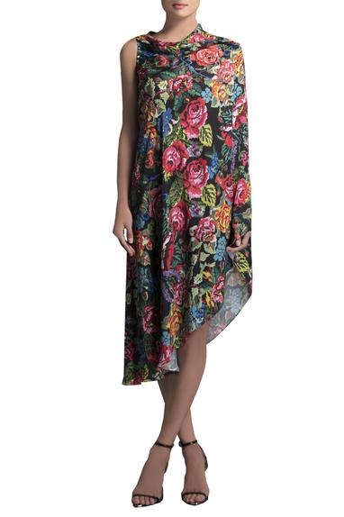 Multicolored crepe printed cape dress