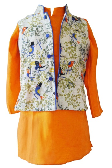 Orange bird print kurta with nehru jacket