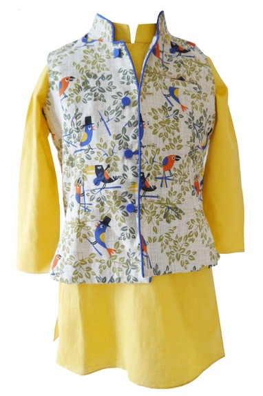Yellow bird print kurta with nehru jacket