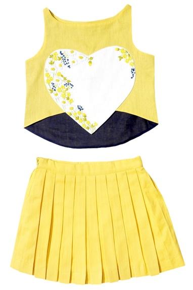 Yellow tart crop top and skirt set