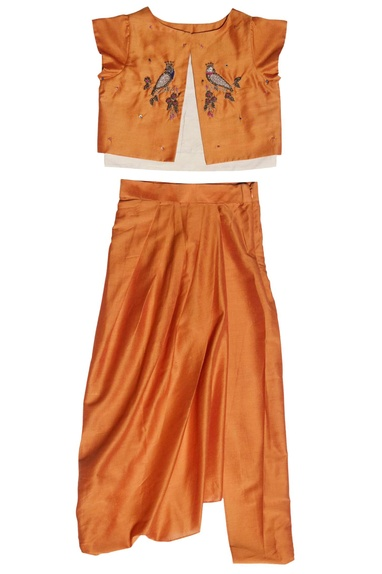 Orange zarodozi top and dhoti set