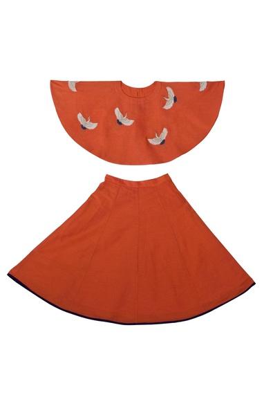 Orange embroidered crop top and skater skirt set