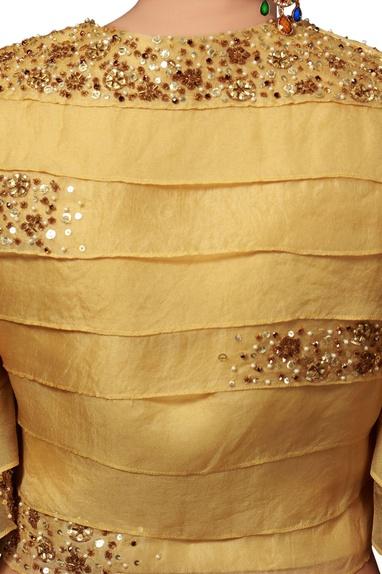 Ochre yellow organza top & skirt