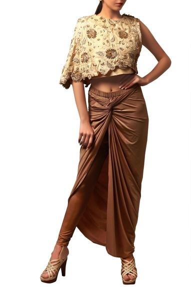 Beige zardozi top & knot skirt