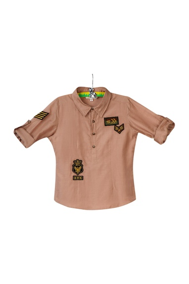 Beige military themed shirt
