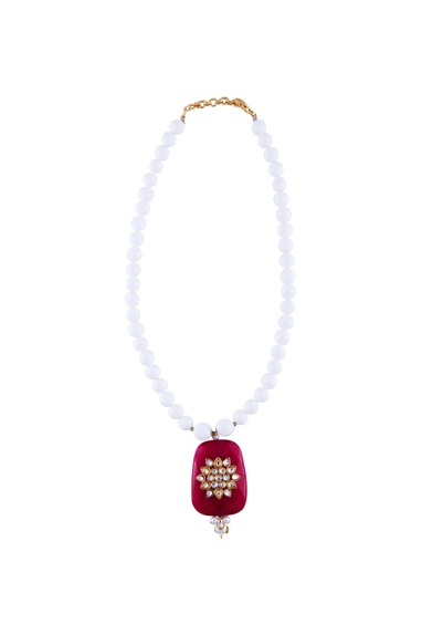 Pink & white faceted bead work statement necklace