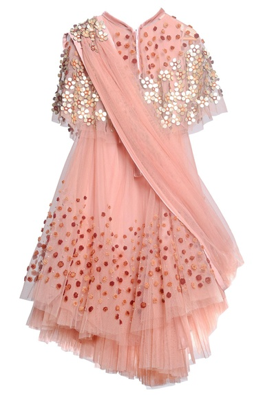 Peach tulle, taffeta & crepe embroidered lehenga set