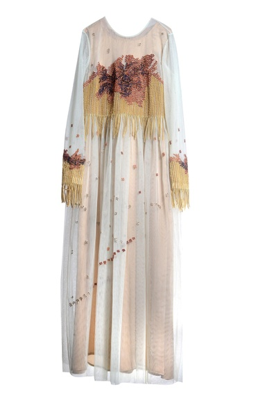 Off white tulle & crepe embroidered dress