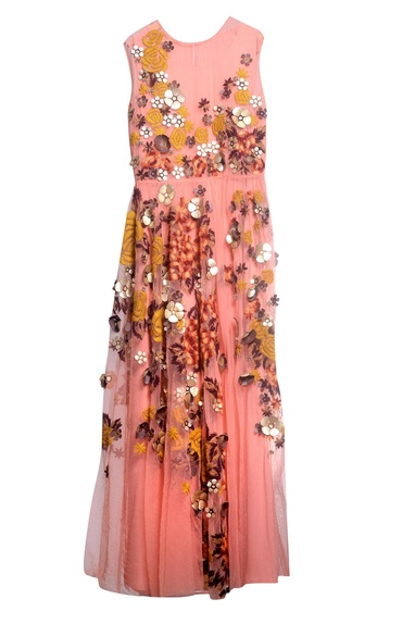 Peach tulle & crepe embroidered dress