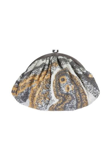 Silver gemstone embellished clutch