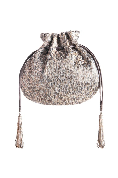 Silver bugle bead embellished potli