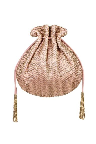 Blush pink metal beads embroidered potli