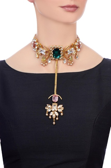 Multi-color gold polished & epoxy crystals choker necklace