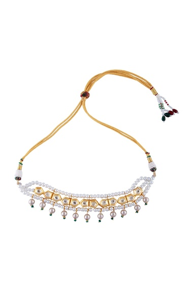 Multi-color gold polished swarovski pearls choker necklace