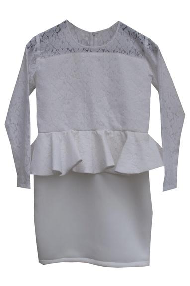 White lycra peplum dress