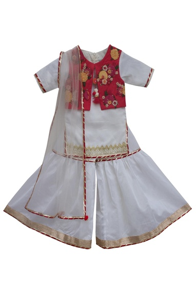White & red chanderi embroidered sharara set