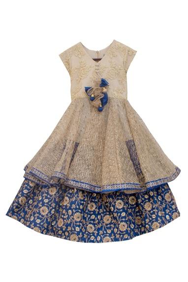 Gold & navy blue silk & net embroidered mastani lehenga set