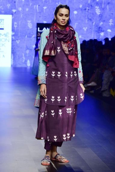 Purple hand-dyed muslin pants