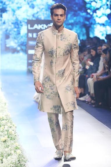 Beige & blue raw silk dahlia print sherwani with pleated pants