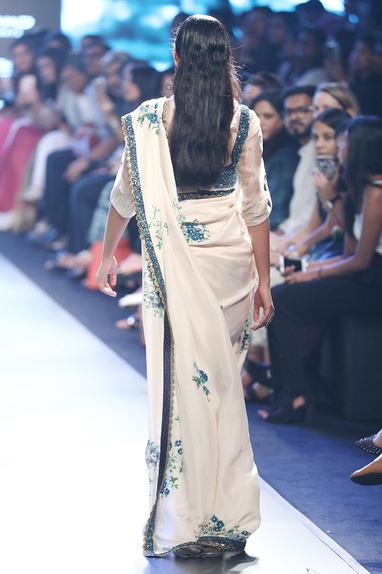 Beige & blue raw silk, organza & silk embroidered sari with shirt