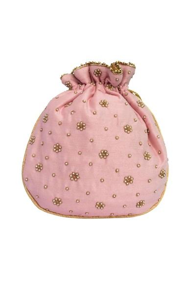 Pink potli in gold zardozi embroidery