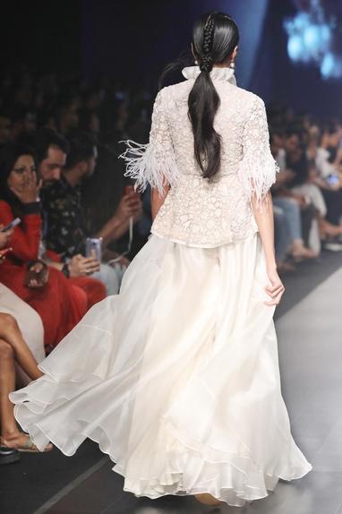 White net peplum blouse & organza sharara pants