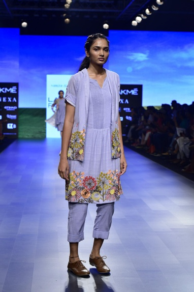 Blue khadi floral embroidered pants