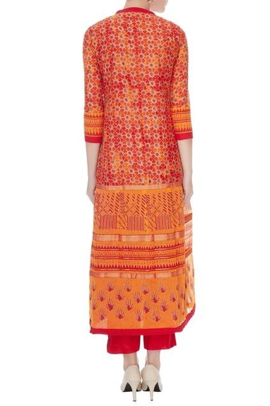 Red & orange silk chanderi printed long kurta with pants