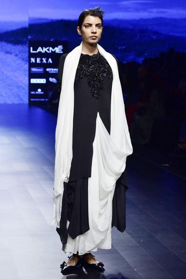 Black & off white crepe & chiffon silk hand embroidery stitched sari